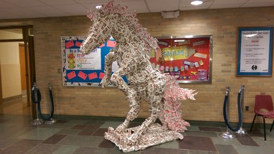 "Schuylerville Elementary School from Schuylerville, New York was honored in the Made By Milk(TM) Carton Construction Contest for their ""Secre-DAIRY-iet"" carton horse sculpture."