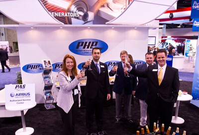 PAS announces their Airbus Helicopters Service Center Agreement from the floor of the HAI on Wednesday, February 26, 2014.  (PRNewsFoto/Precision Aviation Services)