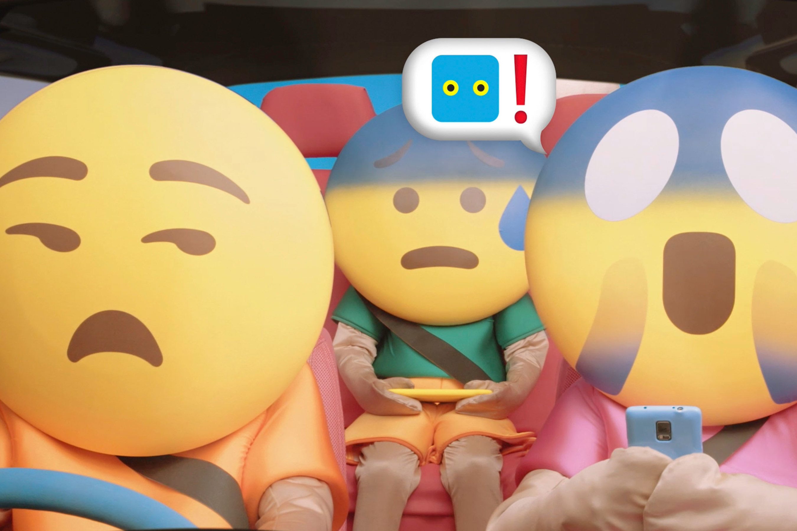 A family of Emoji in a life-size Emoji house shows how Spark's new Morepork smart home security takes care ...