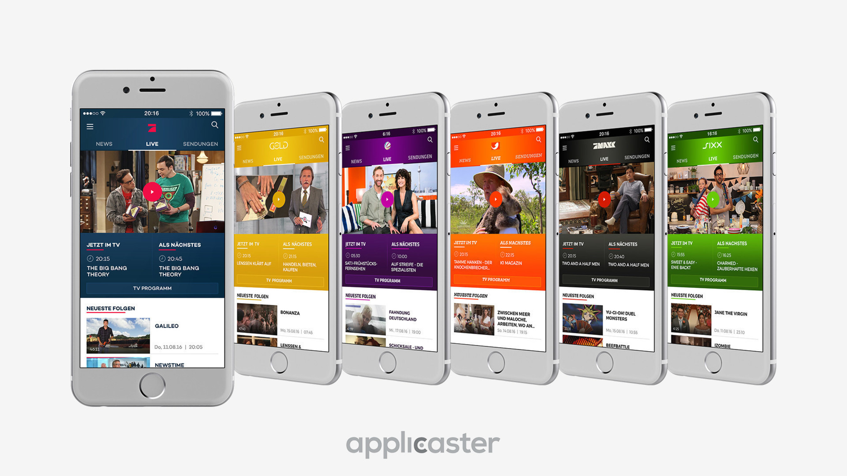 ProSiebenSat.1 Apps built using Applicaster's SaaS platform