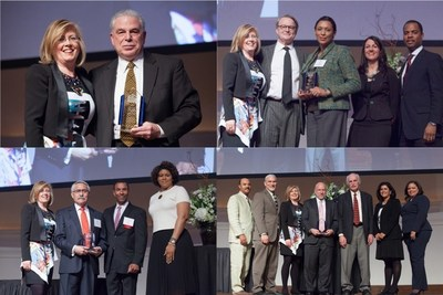 Photos (from top left, clockwise): Commissioner Andrew Mooney, Peter and Jackie Holsten, Jaime Garcia and Terry Mazany accept their awards from the evening. Presenting the awards were NHS President Kristin Faust, Becky Keeter of BMO Harris, Rob McGhee of Citi, Tony Smith of PNC, Candice Allen of HSBC, Lisa Cooper of State Farm, Vicky Arroyo of MB Financial Bank, Allen Rodriguez of the NHS Board of Directors and former NHS Executive Directors Bruce Gottschall and Ed Jacob.