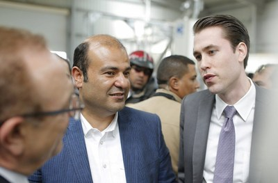 Dr. Khaled Hanafy, Minister of Supply and Internal Trade (left) and David Blumberg, CEO of Blumberg Grain Middle East and Africa (right) tour the newest Blumberg Grain Aggregation and Processing Centers in Kom Abou Rady on Tuesday as part of the Government of Egypt's Shouna Development Project.