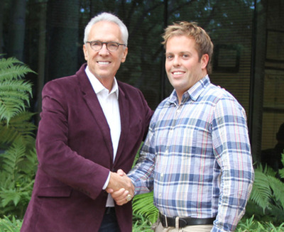 Norm Pattiz (L) and Kit Gray (R) Announce Launchpad Digital Media.  (PRNewsFoto/Courtside Entertainment Group)