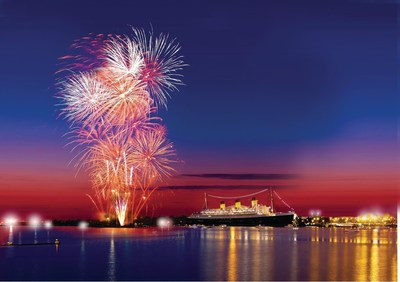 The Queen Mary's legendary July 4th party culminates in fireworks show in Long Beach, CA.