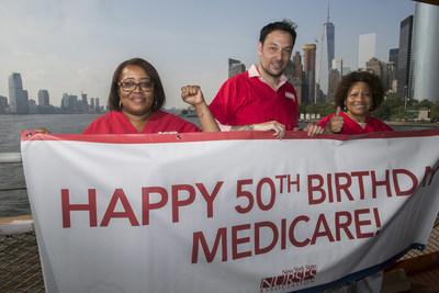 The New York State Nurses Association celebrates Medicare's 50th birthday on the Staten Island Ferry.