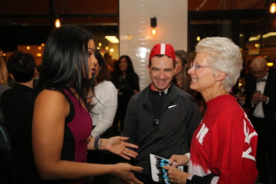 Singer, songwriter and actress Jordin Sparks, PHA CEO Larry Soler and CEO Sodexo Geographic Regions, Lorna Donatone share laughs at PHA's Fit to Celebrate awards reception, recognizing Sodexo as Partner of the Year.