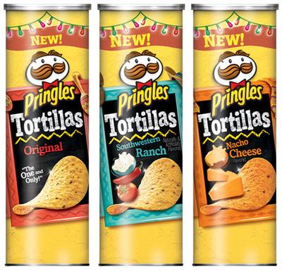 Pringles Tortillas are available in Original, Southwestern Ranch and Nacho Cheese flavors.  (PRNewsFoto/Kellogg Company)
