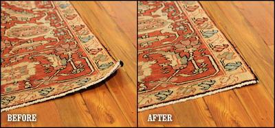 Rug Curling Before And After Curl Stop Installation