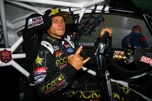 Brian Deegan driving the Global Rallycross Ford Fiesta ST at X Games Brazil on April 21, 2013.  ...