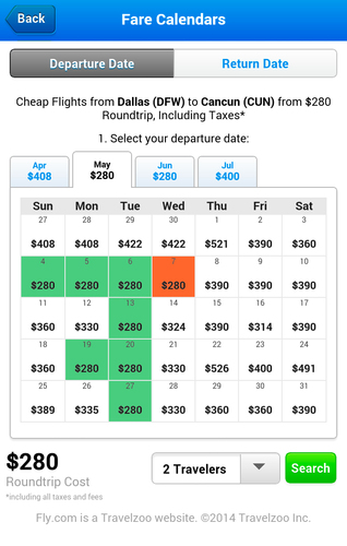 Fly.com Fare Calendars for roundtrip flights to Cancun, Mexico from Dallas, Texas (PRNewsFoto/Fly.com)