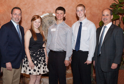 Carlos A. Rodriguez, president and chief executive officer of ADP(R) (far right), recently announced the winners of the ADP Henry Taub Scholarship Award. Pictured here, beginning second from left, are: Kayla Walter, Ryan CiCicco, and Austin Pickup.  At far left is Steven Taub, son of ADP's late founder, Henry Taub.  Not pictured here are the two other scholarship recipients, Linshia Luan and Michelle Liu.  (PRNewsFoto/Automatic Data Processing, Inc.)
