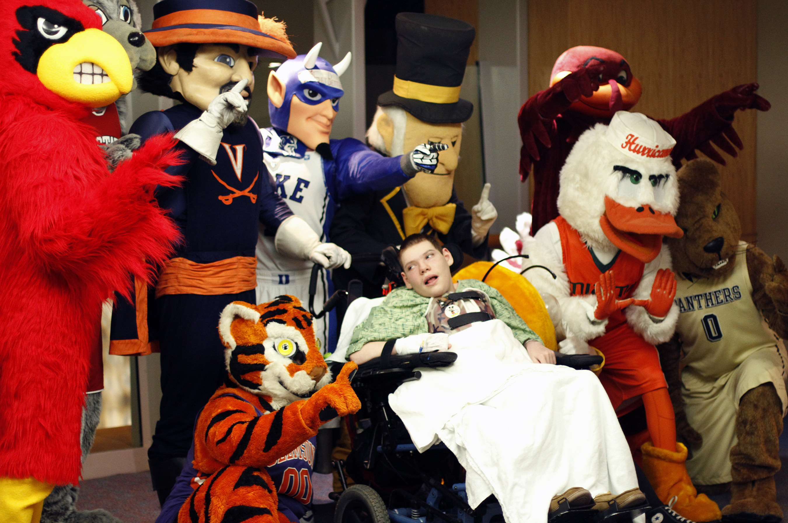 A huge basketball fan, sixteen-year-old Ryan Shelton had a great time meeting all of the ACC mascots. The mascots visited Brenner Children's Hospital as part of an outreach initiative for the 2015 ACC Men's Basketball Tournament.