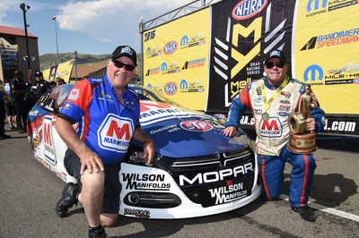 Allen Johnson (right) and his father and engine builder, Roy Johnson, scored the first win of 2016 for a Mopar Dodge Dart NHRA Pro Stock car with their triumph at the 37th Annual Mopar Mile-High NHRA Nationals.