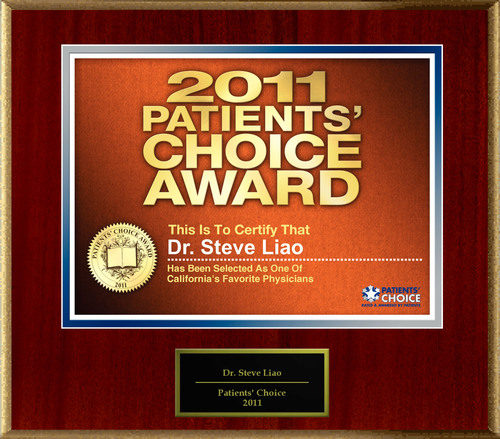Dr. Steve Liao Selected For Patients' Choice Award 2011.  (PRNewsFoto/American Registry)