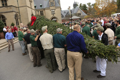 Employees at Biltmore in Asheville, NC, hoist a 35-foot-tall tree for placement in the Biltmore House Banquet Hall. The arrival of the tree signals the start of the estate's annual holiday celebration, Christmas at Biltmore.