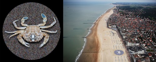 Project TIME: a 3000 m2 picture to tell a global story by Wim Tellier. On the beach at Knokke-Heist Belgium, Wim Tellier integrated a 3,000 m² circular image. It is a picture with double imaging, with its main subject a vulnerable crab magnified at least 1,000 times its original size. The background consists of fish-eye photos of unique landscapes for which Wim Tellier travelled the globe. These images are designed to give spectators an open view of the world. The graphic and logistical aspect of the project is pioneering and revolutionary. The photo file exceeds 400 gigabytes! The 3000m2 photo weighs 1,800 kg.  www.wimtellier.be (PRNewsFoto/Wim Tellier) (PRNewsFoto/Wim Tellier)