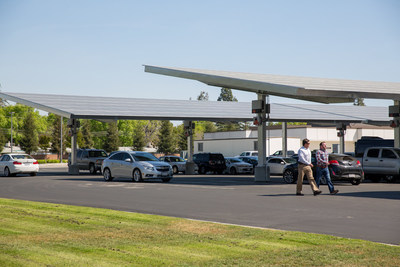 A 4.8-megawatt SunPower Helix Carport, similar to the one pictured, is now under construction at CSU Long Beach. The university expects it to offset approximately 15 percent of campus electrical load.