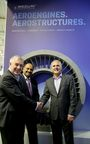 (L-R) Mr. Haydn Martin, Magellan's Vice President Business Development, Arvind Mehra, Executive Director and CEO, Mahindra Aerospace and Mr Stephen Roebuck, Mahindra's Director, Business Development – Aerostructures Business, Mahindra Aerospace post signing an Memorandum of Understanding (MOU) to offer their mutual customers major structural assemblies, machined components and fabrications for the global market.