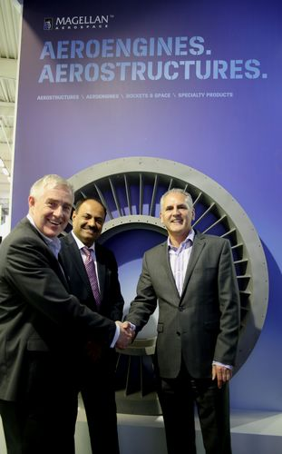 """(L-R) Mr. Haydn Martin, Magellanâeuro(TM)s Vice President Business Development, Arvind Mehra, Executive Director and CEO, Mahindra Aerospace and Mr Stephen Roebuck, Mahindraâeuro(TM)s Director, Business Development âeuro"""" Aerostructures Business, Mahindra Aerospace post signing an Memorandum of Understanding (MOU) to offer their mutual customers major structural assemblies, machined components and fabrications for the global market. (PRNewsFoto/Mahindra & Mahindra Ltd.)"""