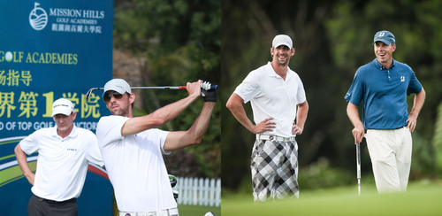 Michael Phelps and Matt Kuchar in Mutual Admiration at Mission Hills World Celebrity Pro-Am in