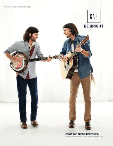 Gap's Fall Campaign Shines A Light On Modern Icons - Avett Brothers.  (PRNewsFoto/Gap Inc.)