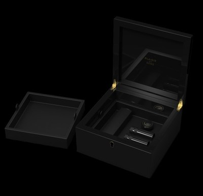 Valet includes two interchangeable trays that double as personal storage for personal items such as watches, jewelry, and other pleasure products.