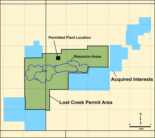 Map showing the Property Interests being conveyed to Ur-Energy and their location relative to its Lost Creek ...