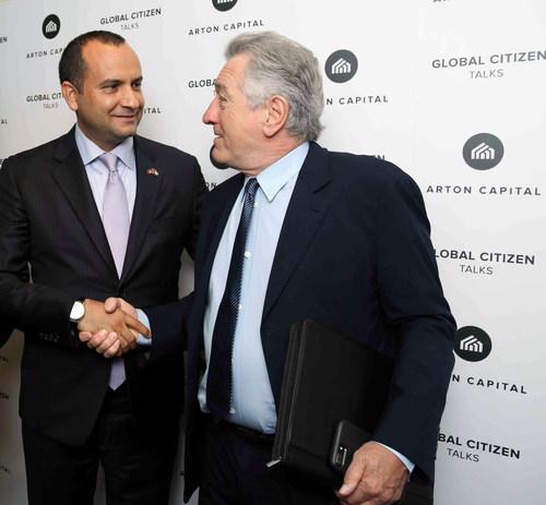 Special Envoys of Antigua and Barbuda Robert De Niro and Armand Arton discuss investments in Dubai. (PRNewsFoto/Arton Capital)