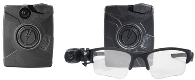 Axon Body and Axon Flex body-worn cameras (L to R) by TASER International.
