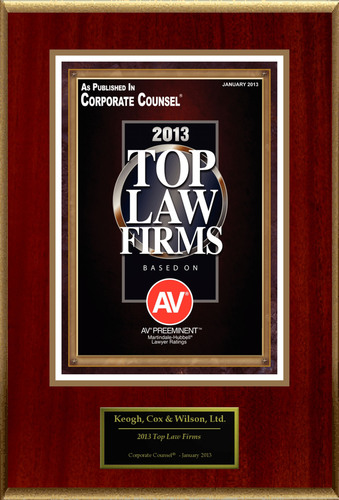 "Keogh, Cox & Wilson, Ltd. Selected For ""Top Law Firms"".  (PRNewsFoto/Keogh, Cox & Wilson, Ltd.)"