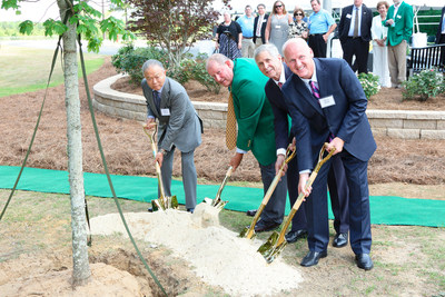 (L-R) YKK Corporation and YKK AP Inc. Chairman & CEO Tadahiro Yoshida, Mayor of Dublin, Ga., Phil Best, YKK Corporation of America Chairman, President & CEO Alex Gregory, and YKK AP America Inc. President, Oliver Stepe plant a tree to commemorate the company's 25th anniversary at a special ceremony in Dublin, Ga.