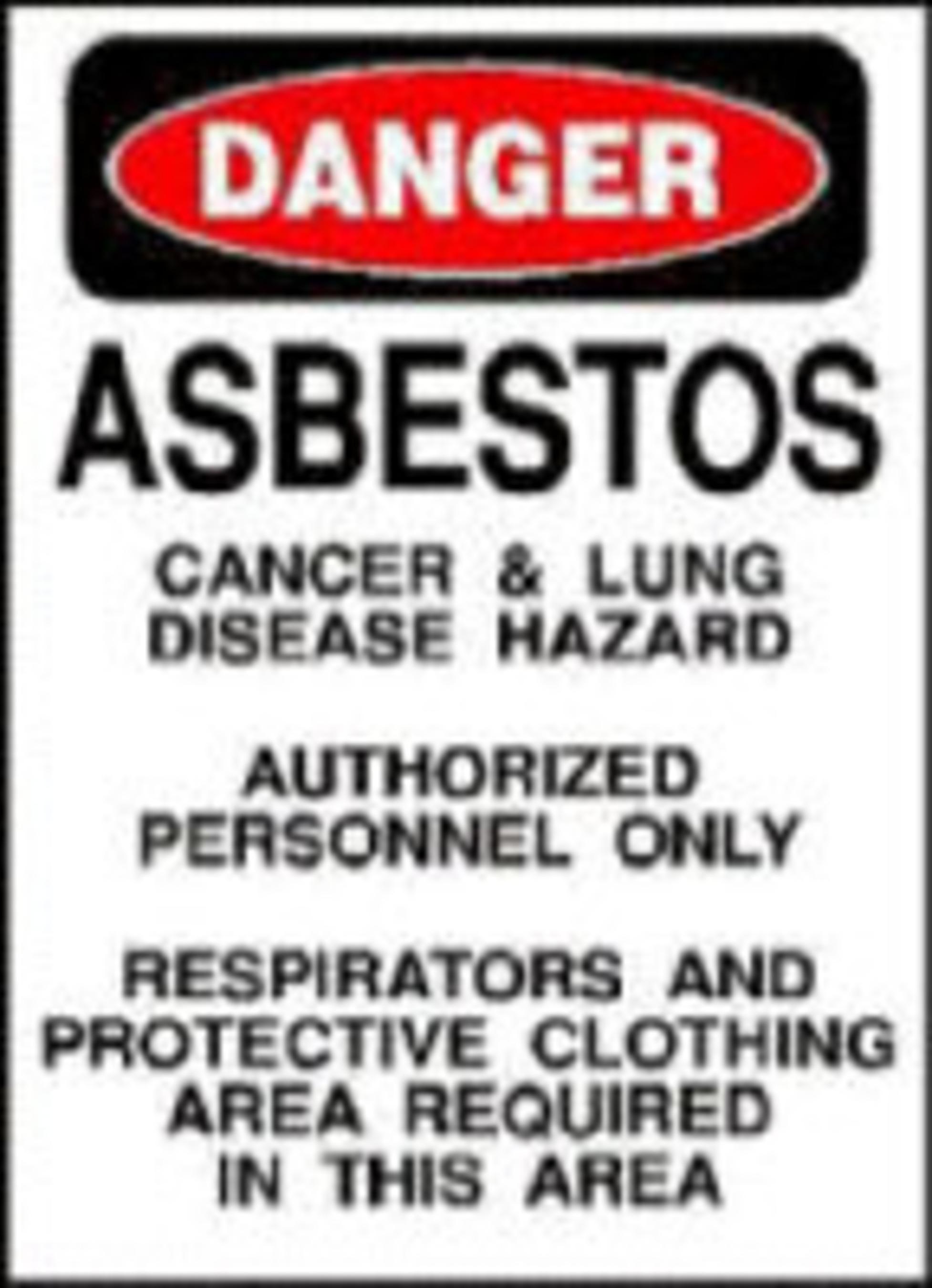 Asbestos Warning.  (PRNewsFoto/Mesothelioma Victims Center)