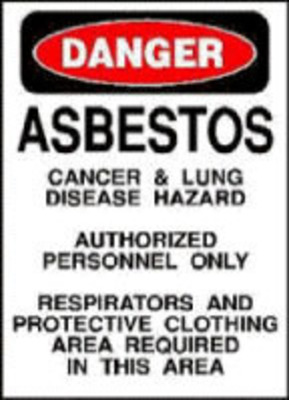 Asbestos Warning.  (PRNewsFoto/Mesothelioma Victims Center)