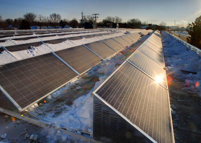 KI has completed the installation of Northeast Wisconsin's largest solar photovoltaic (PV) system at its Green Bay, WI., design and development facility. The new 115 kilowatt (kW) array--comprised of 480 PV solar panels, covering approximately 22,820 square feet of rooftop space--converts sunlight into electricity, producing approximately 152,640 kilowatt hours (kWh) of clean energy annually while displacing 108 metric tons carbon dioxide emissions. The energy produced is the equivalent of sequestering carbon from 88 acres of forest or providing electricity to 13 U.S. households.  (PRNewsFoto/KI)