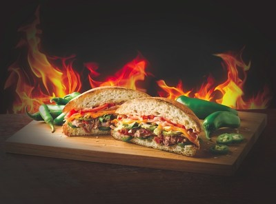 Quiznos newest culinary creation, the SatisFIRE, features Quiznos signature slow-roasted pulled pork, honey ham, smoky bacon and melted cheddar cheese, topped with sauteed onions, fresh jalapenos, pickles, lettuce and tomatoes. A unique Serrano pepper aioli finishes it off, all piled between two slices of fresh Ciabatta bread.
