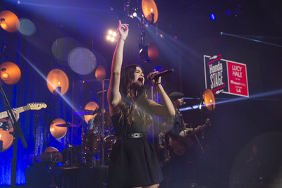 Lucy Hale performs on the HondaStage at the iHeartRadio Theater in Los Angeles.