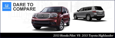 The Pilot and Highlander are popular choices in the SUV segment.(PRNewsFoto/Howdy Honda)