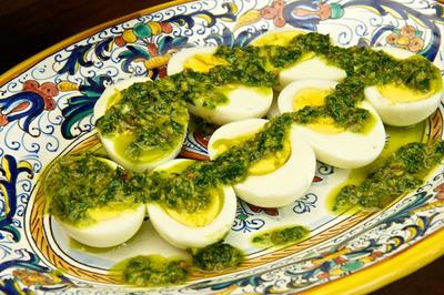 Uova sode in salsa verde (Hard Boiled Eggs with Green Sauce).  (PRNewsFoto/Memorie di Angelina)