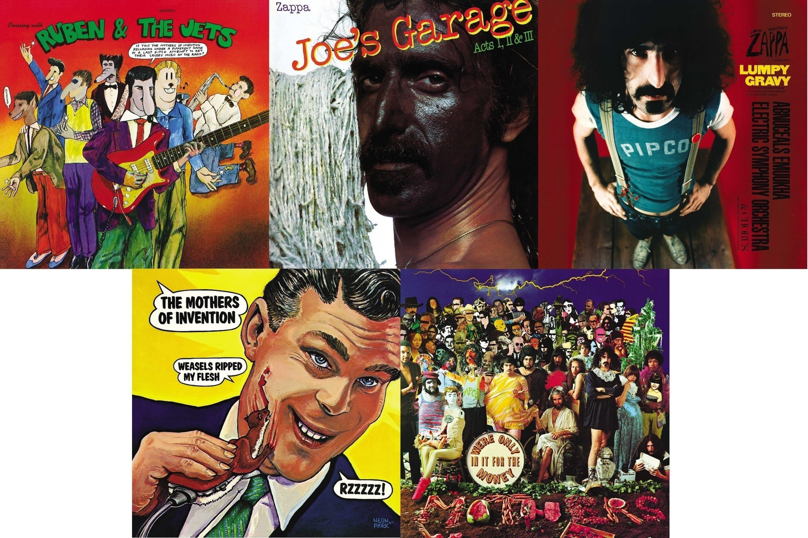 Following this month's release of three new Frank Zappa albums, the Zappa Family Trust and UMe are continuing their extensive reissue campaign by releasing five iconic works of the musical innovator on vinyl for the first time in decades: 'Cruising With Ruben & The Jets,' 'Joe's Garage,' 'Lumpy Gravy,' 'Weasels Ripped My Flesh' and 'We're Only In It For The Money.' The albums spanning Zappa's incredibly fertile late '60s-late '70s period will be pressed on 180-gram vinyl and available December 9.