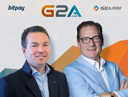 Marcel Roelants, General Manager of BitPay EMEA and G2A.COM Executive VP of Global Payments Bob Voermans are ...
