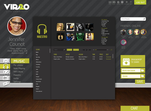 The new Vir2o music service, called Maestro, allows users to play, share, download and organize music files. It  ...