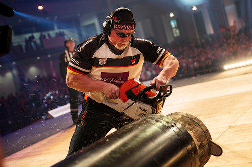 """Dirk Braun of Germany performs during the STIHL TIMBERSPORTS(R) World Championship in Poznan, Poland on November 14, 2015. Editorial use of this picture is free of charge. Please quote the source: """"ops/STIHL TIMBERSPORTS(R) SERIES/Joerg Mitter"""" (PRNewsFoto/STIHL TIMBERSPORTS Series) (PRNewsFoto/STIHL TIMBERSPORTS Series)"""