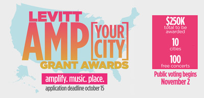 The Levitt AMP [Your City] Grant Awards is an annual creative placemaking competition, now in its second year, to activate dormant public spaces through free outdoor concerts. 10 nonprofit organizations, or municipalities partnering with a nonprofit, will receive $25K matching grants to present the Levitt AMP Music Series in 2016.
