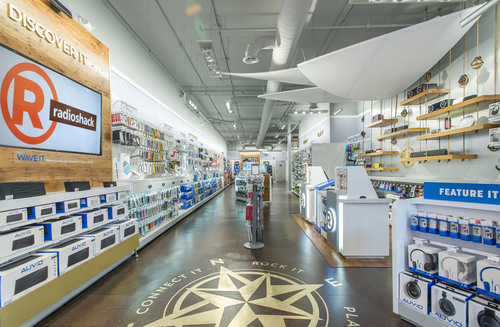 RadioShack opens its new custom-designed concept store in Boston today featuring a nautical theme paying tribute to the company's roots in the area. The bigger, brighter store at 13 School Street in Boston's historic Downtown Crossing neighborhood is located just minutes from the site of the company's very first retail location, which opened in 1921. Features include interactive areas where shoppers can discover and experience top-brand wireless speakers, headphones and mobile devices. (PRNewsFoto/RadioShack) (PRNewsFoto/RADIOSHACK)