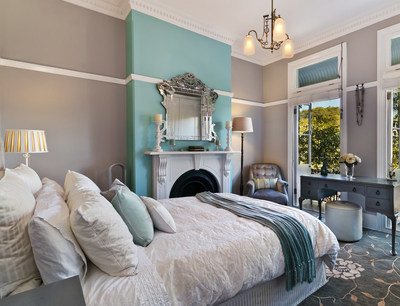 Gray wall color is the perfect backdrop for vibrant accents, according to the Paint Quality Institute.