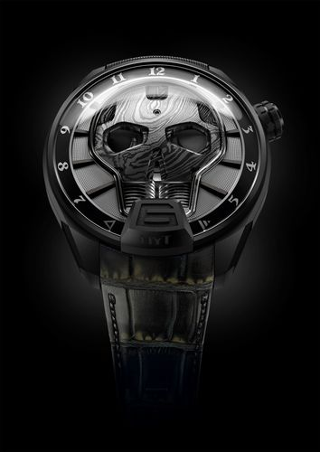HYT SKULL BAD BOY: to be seen at Baselworld 2016, Location: Palace, Booth 3A This hydro-mechanical watch has an opaque black fluid indicating the hours. The capillary measures less than one millimetre in diameter and has four angles, two of which are almost 90 degrees at the base. 65-hour power reserve. 50-piece limited edition  http://www.hytwatches.com/collection-skull/watch/skull-badboy/ (PRNewsFoto/HYT Watches) (PRNewsFoto/HYT Watches)
