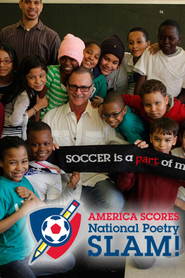 Shep Messing - New York Cosmos great, meets America SCORES poet-athletes from PS 192 in West Harlem.  (PRNewsFoto/America SCORES)