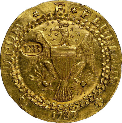 Sold for nearly $4.6 million, this 1787-dated gold Brasher Doubloon was one of a dozen United States coins that crossed the million dollar mark at auctions in 2014, another record year for the estimated $5 billion U.S. rare coin market, according to the Professional Numismatists Guild. (Photo credit: Heritage Auctions.)