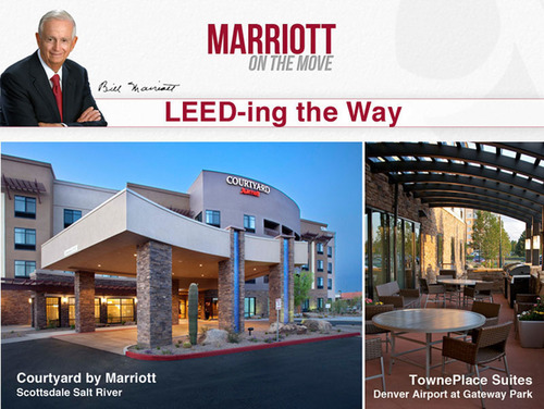 Bill Marriott Blogs About Innovative, Energy-Efficient Hotel Designs; Marriott's LEED Volume Program First in Industry to Open Doors.  (PRNewsFoto/Marriott International, Inc.)