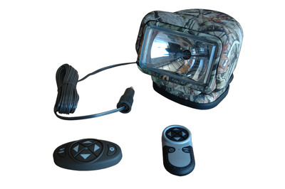 The GL-3085H-M HID Camouflage Golight Stryker from Magnalight produces a 3,000 lumen light beam capable of reaching over 5,000 feet in distance. This 35 watt HID Golight offers wireless remote pan and tilt control, dual controllers, and a housing finished in a durabale camouflage pattern. This Golight includes a 100 lbs grip magnetic base and is weatherproof with weatherproof remote controls and operates with 12 volt DC current.  (PRNewsFoto/Larson Electronics)